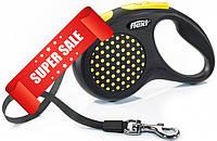 Поводок-рулетка Flexi Design S, 5 м, лента, желтый