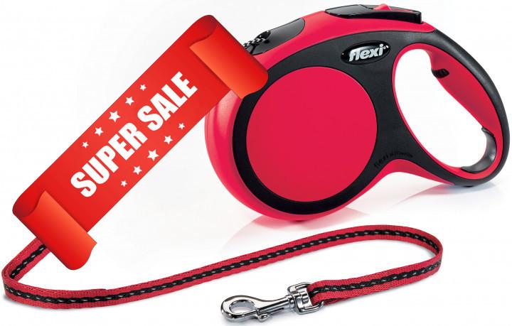 Поводок-рулетка Flexi New Comfort M, 8 м, трос, красный