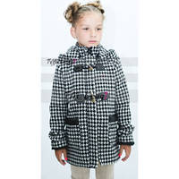 Детское утепленное шерстяное пальто, гусинная лапка, декор кожзам