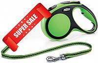 Поводок-рулетка Flexi New Comfort M, 5 м, трос, зеленый