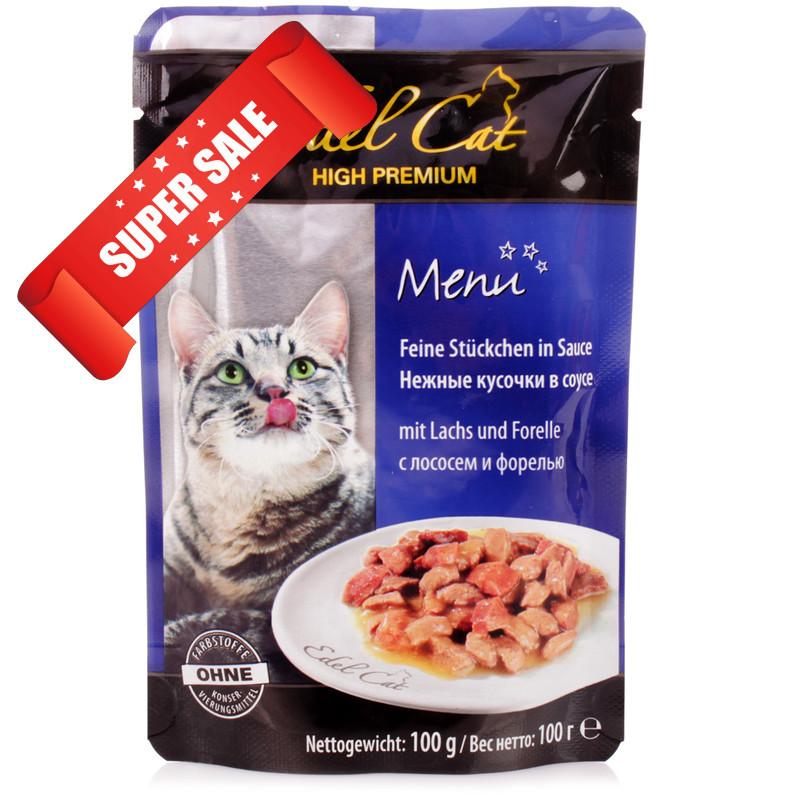 Влажный корм для кошек Edel Cat Нежные кусочки в соусе с лососем и форелью 100 г