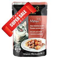 Влажный корм для кошек Edel Cat Нежные кусочки в желе с лососем и камбалой 100 г