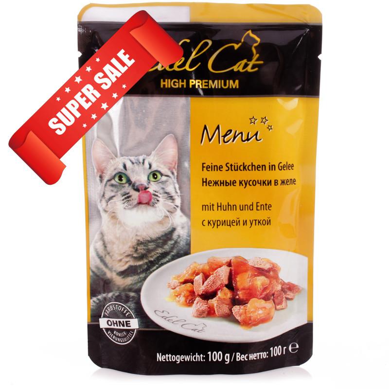 Влажный корм для кошек Edel Cat Нежные кусочки в желе с курицей и уткой 100 г