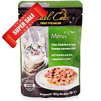 Влажный корм для кошек Edel Cat Нежные кусочки в соусе с индейкой и уткой 100 г