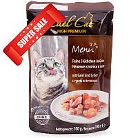 Влажный корм для кошек Edel Cat Нежные кусочки в желе с гусем и печенью 100 г