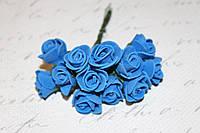 Декоративные розочки 2 см диаметр 144 шт. синего цвета на стебле оптом