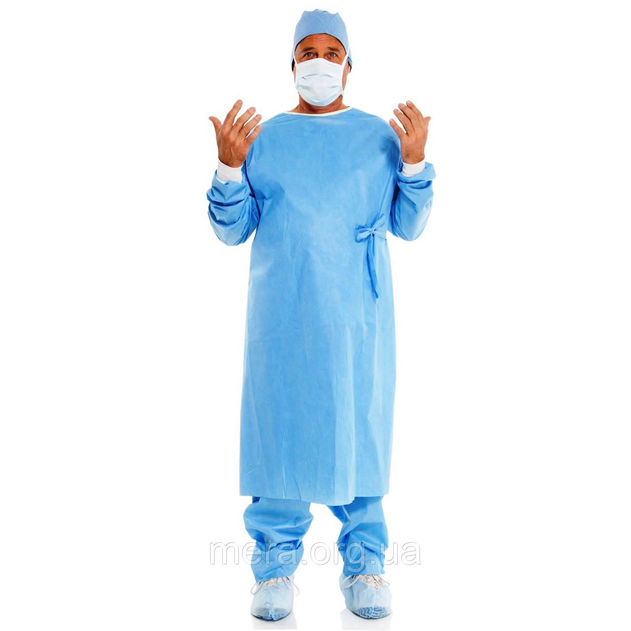 Халат хирургический, стерильный, СМС, рукав с манжетой