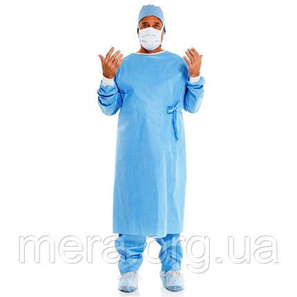 Халат хирургический, стерильный, СМС, рукав с манжетой, фото 2