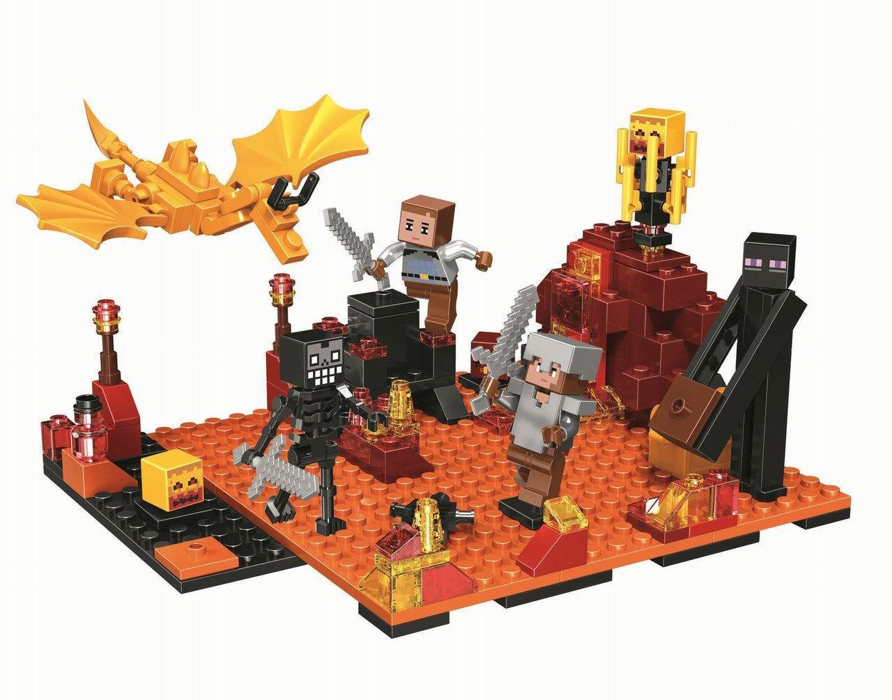 """Конструктор Bela 10963 (Аналог Lego Minecraft) """"Нападение в нижнем мире"""" 215 деталей"""