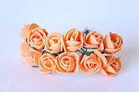 Декоративные розочки 2 см диаметр мини 144 шт. персикового цвета на стебле, фото 1