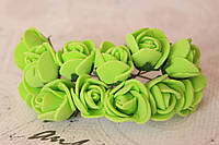 Декоративные розочки 2 см диаметр мини 144 шт. салатового цвета на стебле
