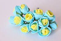 Декоративные розочки 1.5-2 см диаметр мини 144 шт. желто-голубого цвета на стебле