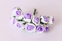 Декоративные розочки 1.5-2 см диаметр мини 144 шт. бело-фиолетового цвета на стебле