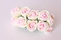 Декоративные розочки 1.5-2 см диаметр мини 144 шт. кремово-розового цвета на стебле, фото 1