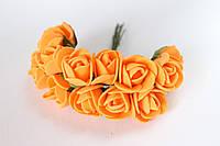 Декоративные розочки 2 см диаметр мини 144 шт.оранжевого цвета на стебле, фото 1