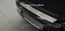 Защитная хром накладка на задний бампер (планка без загиба) volkswagen eos FL (фольксваген эос фл) 2011+