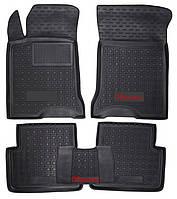 Коврики в салон Kia Sorento I 2002 - 2011, черные, полиуретановые (Avto-Gumm, 11729) - комплект (4 шт.) + перемычка