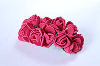 Декоративные розочки 2 см диаметр мини 144 шт.вишневого цвета на стебле, фото 1