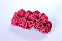 Декоративные розочки 2 см диаметр мини 144 шт.вишневого цвета на стебле