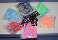 Набор резинок для плетения Loom Bands (160шт + маленький крючок) - яркие, с белой канвой.