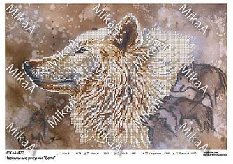 """Схема для частичной зашивки бисером - Наскальные рисунки """"Волк"""""""