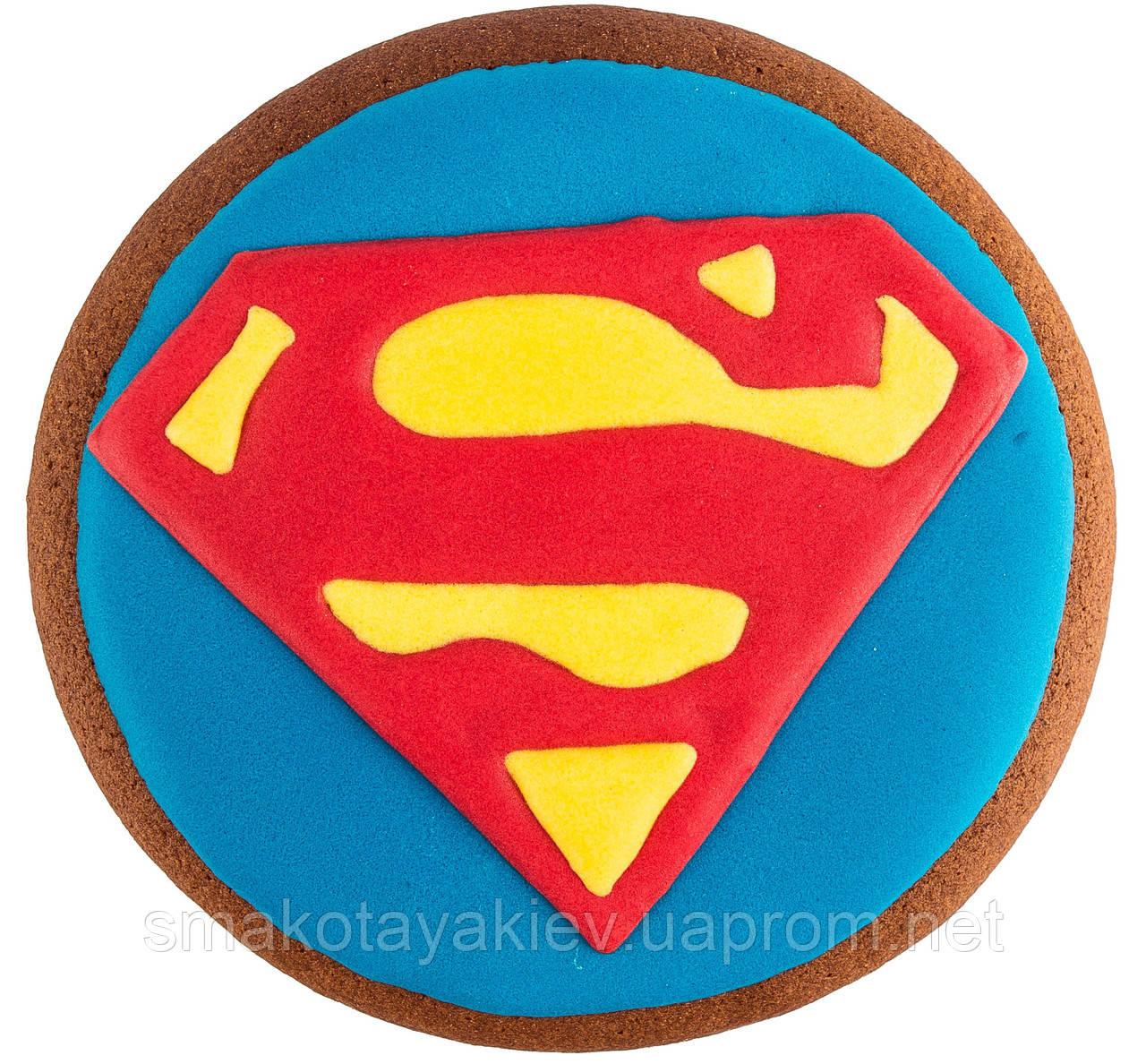 """Расписной пряник ручной работы - """"Супермен"""""""