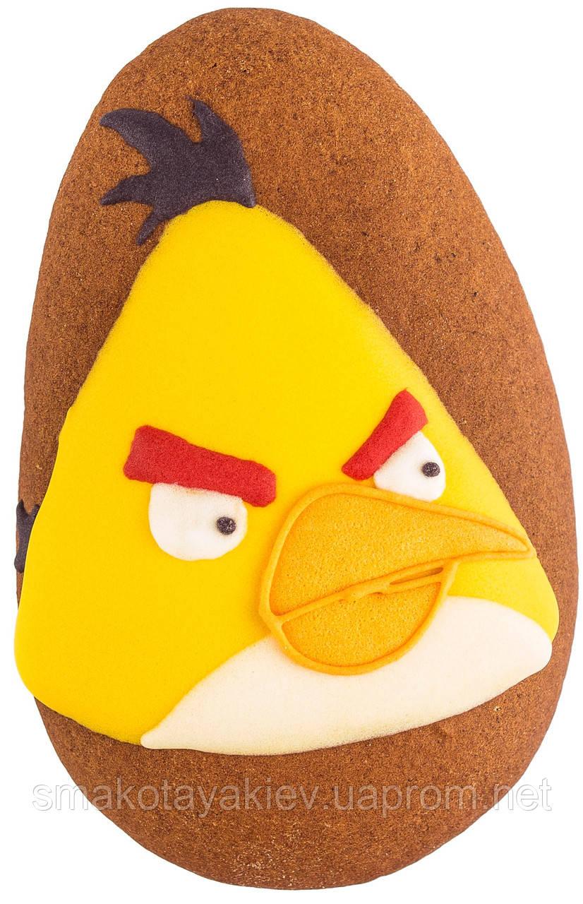 """Расписной пряник ручной работы - """"angry birds жёлтыий"""""""