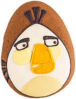 """Расписной пряник ручной работы - """"angry birds белый"""""""