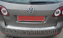 Защитная хром накладка на задний бампер (планка без загиба) volkswagen golf V plus (гольф 5 плюс) 2004-2008