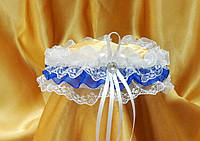 Свадебная подвязка невесты в синей цвете.