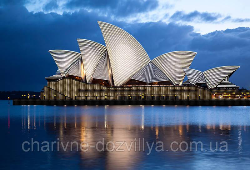 """Схема для вышивки бисером на атласе (пейзаж) """"Сиднейская опера"""""""