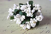 Добавка веточки с тычинками 10-12 шт/уп. молочного /(светло-кремового) цвета БОМ