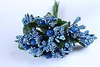 Добавка веточки с тычинками 10-12 шт/уп. синего цвета БОМ
