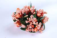 Добавка веточки с тычинками 10-12 шт/уп. оранжевого цвета БОМ