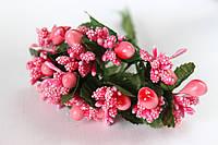 Добавка веточки с тычинками 6 шт/уп. розового цвета БОМ, фото 1