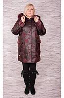 Женское пальто дубленка от производителя с меховым воротником больших размеров вельбо