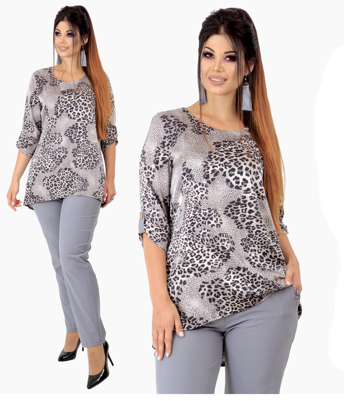 """Элегантный серый костюм """"Baku""""  больших размеров от 48 до 60 блузка с леопардовым принтом,  265-92"""