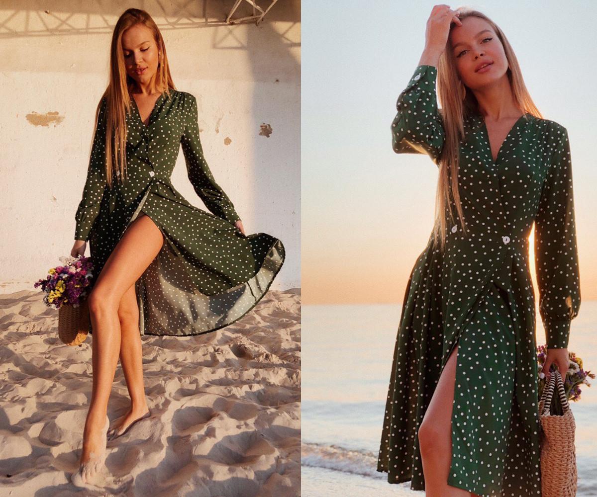 """Платье на запах """"Лилия"""" с принтом горошек, есть карманы, длинный рукав  278-613"""