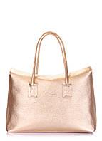 Кожаная сумка золотая Sense, для женщин, на магнитной застежке