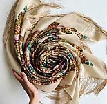 Именинница 1446-1, павлопосадский платок шерстяной (с просновками) с шелковой бахромой, фото 4