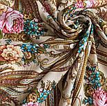 Именинница 1446-1, павлопосадский платок шерстяной (с просновками) с шелковой бахромой, фото 6