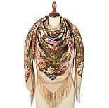 Именинница 1446-1, павлопосадский платок шерстяной (с просновками) с шелковой бахромой, фото 2