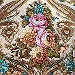 Именинница 1446-1, павлопосадский платок шерстяной (с просновками) с шелковой бахромой, фото 7
