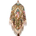 Именинница 1446-1, павлопосадский платок шерстяной (с просновками) с шелковой бахромой, фото 3