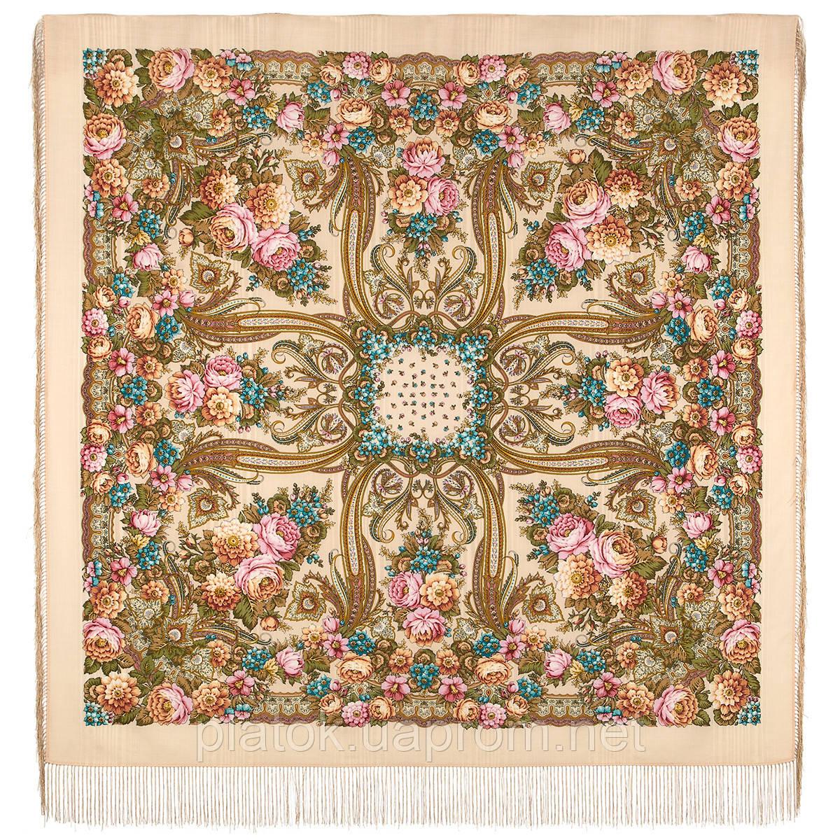 Именинница 1446-1, павлопосадский платок шерстяной (с просновками) с шелковой бахромой
