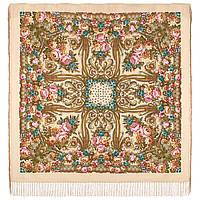 Именинница 1446-1, павлопосадский платок шерстяной (с просновками) с шелковой бахромой, фото 1