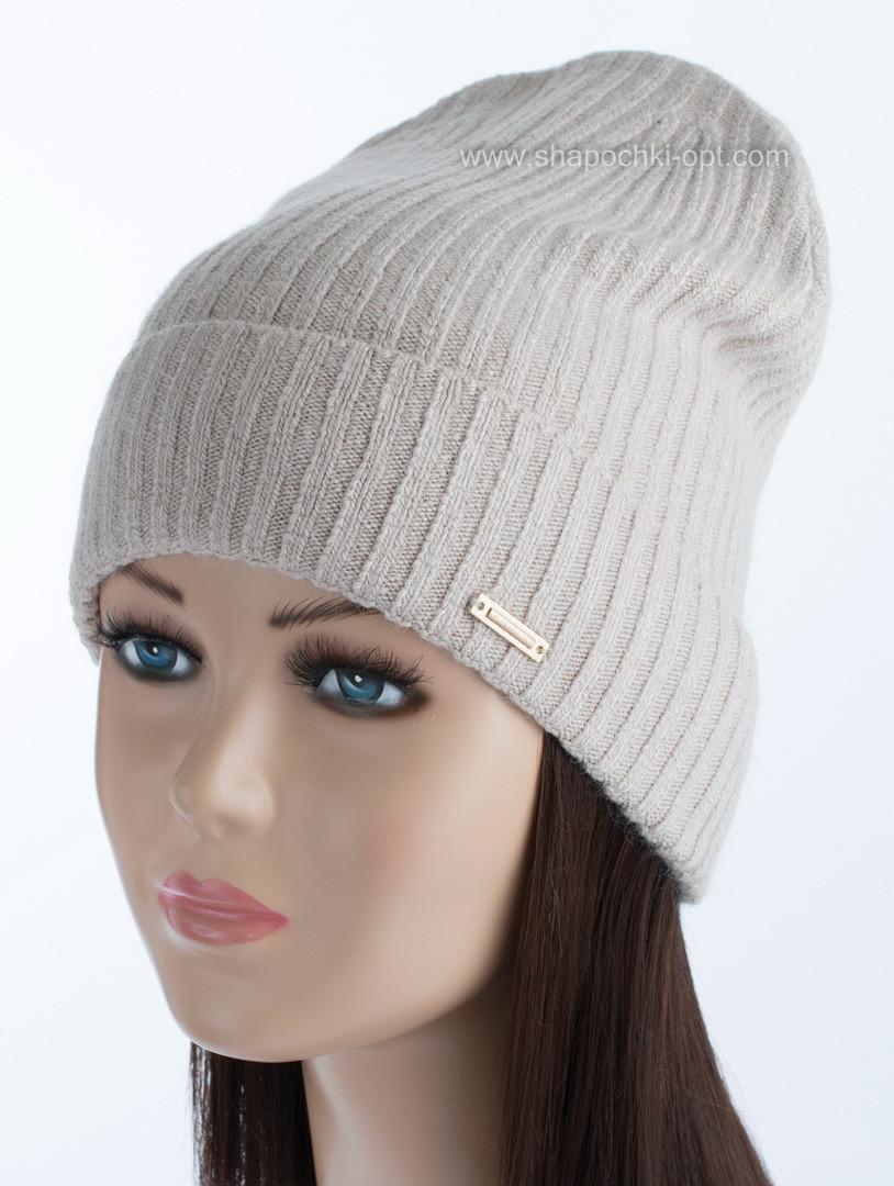 Удлиненная вязаная шапка Джони цвет лен