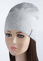 Двойная вязаная шапка Гринфилд светло-серая