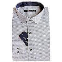 Рубашка для мальчика Bazzolo подростковая длинный рукав приталенная белая с серым принтом