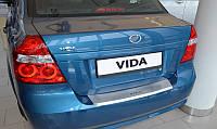 Защитная хром накладка на задний бампер с загибом Zaz vida 4D(заз вида седан 2011г+)